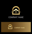 home roof gold logo vector image vector image