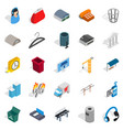industrial zone icons set isometric style vector image vector image