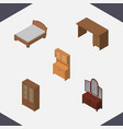 isometric design set of table bedstead drawer vector image