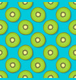kiwi seamless pattern on blue background vector image vector image