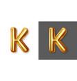 metallic gold alphabet letter symbol - k vector image