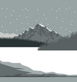 monochrome scene landscape background of mountains vector image vector image