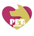 pets clinic vet hospital dog head isolated icon vector image vector image