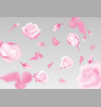 pinkr ose falling flowers and buds vector image vector image