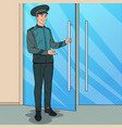 pop art doorman standing at hotel entrance vector image