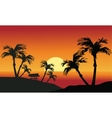 Sea sunset with island and palm trees vector image