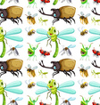 Seamless background with different insects vector image vector image