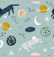 seamless childish pattern with cheetah in cosmos vector image vector image