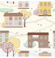 seamless pattern with houses paths trees vector image