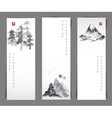 Set of cards with bamboo trees vector image vector image