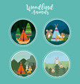 set of cute animals on round icons vector image vector image