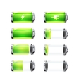 Set of glossy battery icons with different charge vector image vector image