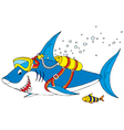 shark diver vector image