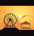silhouettes of a city and amusement park vector image vector image