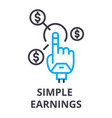 simple earnings thin line icon sign symbol vector image vector image