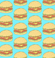 Sketch tasty hamburger in vintage style vector image vector image