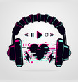 stereo headphones with glitch effect music vector image vector image