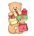 teddy with presents vector image vector image
