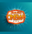the vintage cinema emblem vector image vector image