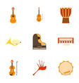 tools for music icons set flat style vector image vector image