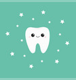 tooth icon smiling face shining effect stars cute vector image vector image