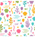 underwater seamless pattern with hand drawn vector image vector image