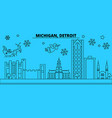 united states detroit winter holidays skyline vector image vector image
