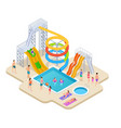 water park isometric aquapark kids slide vector image vector image
