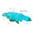 watercolor map jamaica island stylized image vector image