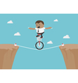 Young African businessman balancing on the rope vector image vector image