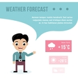 Weatherman giving a weather forecast vector image