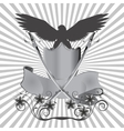 background eagle on shield with swords and flowers vector image vector image
