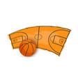 basketball ball and playing arena icon vector image
