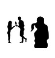 black valentines silhouette couple in embrace vector image