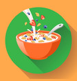breakfast cereal in bowl filled with milk vector image
