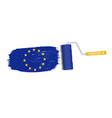 brush stroke with european union national flag vector image