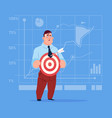 business man hold arrow not hitting target crisis vector image vector image