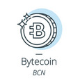 bytecoin cryptocurrency coin line icon of virtual vector image vector image