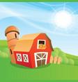 cartoon farm barn vector image vector image