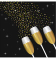 champagne glass with stars to celebrate holiday vector image