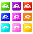 cloud data icons set 9 color collection vector image vector image