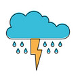 cloud with rain and thunderbolt in watercolor vector image vector image