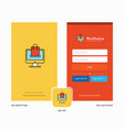 company online shopping splash screen and login vector image vector image
