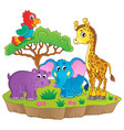 cute african animals theme image 2 vector image vector image
