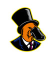 duck-billed platypus tophat woodcut color vector image vector image