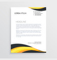elegant yellow and gray waves letterhead template vector image vector image