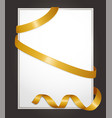 empty banner with golden ribbons swirls tapes vector image