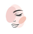 face a beautiful young woman line art 3 vector image
