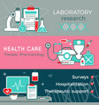 flat healthcare horizontal banners vector image vector image