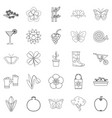 flower icons set outline style vector image